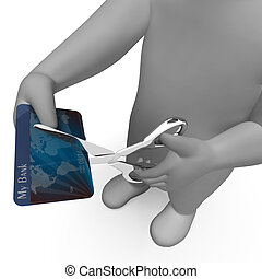 Credit Card Shows Cut Spend And Payment 3d Rendering -...