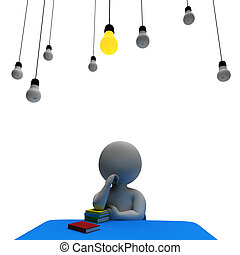 Lightbulb Man Showing Think About It And Power 3d Rendering