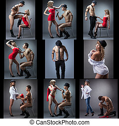Set of hot guy and sexy blonde dancing striptease - Set of...