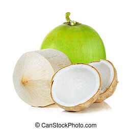 Green coconut isolated on the white background