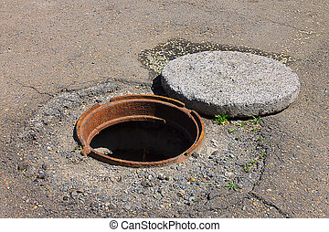 deep open manhole - Photo on which is depicted a deep open...