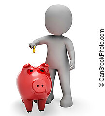 Savings Character Indicates Piggy Bank And Money 3d Rendering
