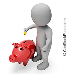 Money Character Means Piggy Bank And Illustration 3d Rendering
