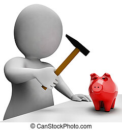 Savings Money Indicates Piggy Bank And Banking 3d Rendering