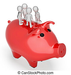 Savings Save Indicates Piggy Bank And Finance 3d Rendering