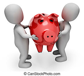 Savings Character Represents Piggy Bank And Illustration 3d Rendering