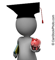 Education Savings Shows Piggy Bank And Rich 3d Rendering