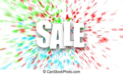 White sale sign over colorful confetti background.