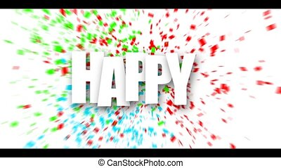 White Happy birthday sign over confetti. - White Happy...