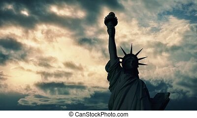 Statue Of Liberty Dark On Sunset - The Statue of Liberty in...
