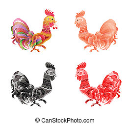 Set cartoon cock - Image of an cock on white background
