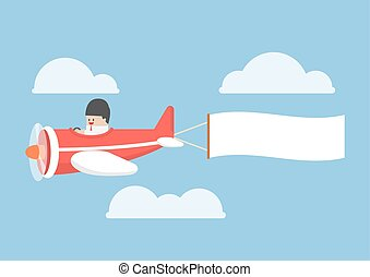 Businessman flying by the airplane with banner - Businessman...