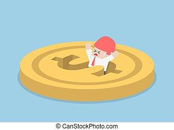 Businessman falling into dollar hole