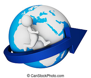 Worldwide Globe Means Render Globally And Globalisation 3d...