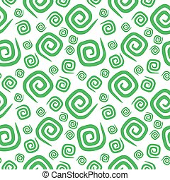 Seamless pattern green curlicues on white background