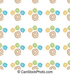 Seamless pattern colorful curlicues on white background
