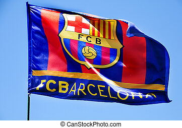 FC Barcelona flag waving on the wind - the FC Barcelona flag...