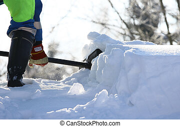 Snow Removal - Working cleans the road from snow