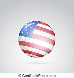 Red, white and blue flag - Red, white and blue flag on ball...