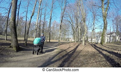father man push blue baby carriage in spring park tree alley...