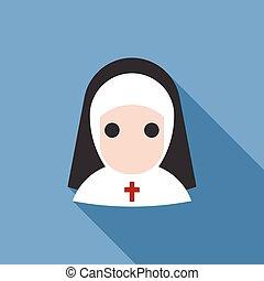 Nun icon,vector with long shadow, flat design