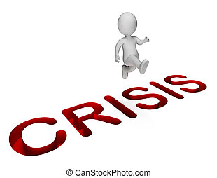 Overcome Crisis Shows Hard Times And Adversity 3d Rendering...