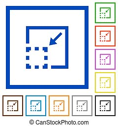 Minimize element framed flat icons - Set of color square...