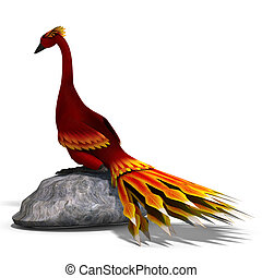 red fantasy bird with beautiful feathers. 3D rendering with clipping path and shadow over white