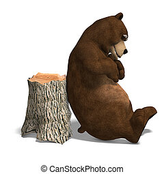 cute and funny toon bear. 3D rendering with clipping path and shadow over white
