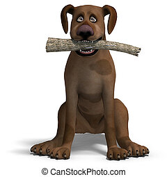 the cute and funny toon dog is a bit silly. 3D rendering...