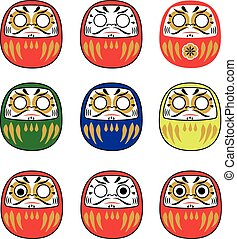 Set of japanese daruma dolls