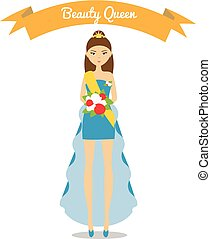 Beauty queen vector illustration Girl in fashion blue dress...