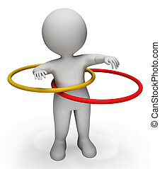 Hula Hoop Represents Physical Activity And Exercised 3d...