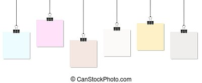 colored papers with binder clips - empty colored papers with...