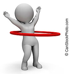 Hula Hoop Indicates Working Out And Active 3d Rendering -...