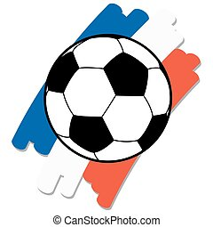 soccer ball with france national colors - black and white...