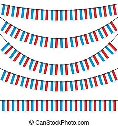garlands with Luxembourgish national colors - different...