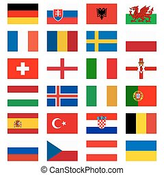 flags of national teams for soccer match - flags of national...
