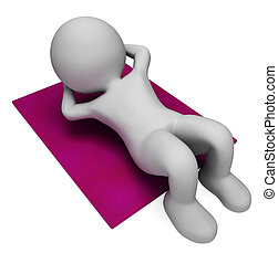 Sit Ups Indicates Abdominal Crunch And Crunches 3d Rendering...