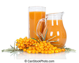 Pitcher, glass juice from berries sea buckthorn isolated on...