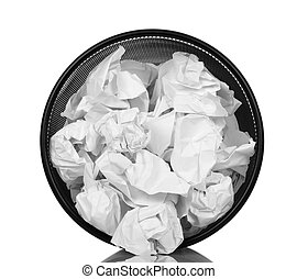 Basket for paper waste isolated on white background View...