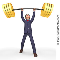 Weight Lifting Represents Fitness Center And Business 3d...
