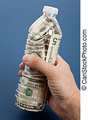 Plastic Bottle and Dollar with blue background