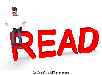 Read Character Shows Non Fiction And Book 3d Rendering -...