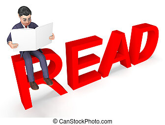 Businessman Character Indicates Executive Reading And...