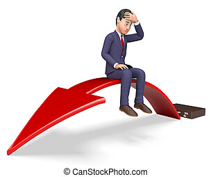 Businessman Arrow Indicates Lack Of Success And Arrows 3d...
