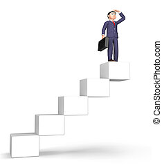 Success Stairs Means Achievement Succeed And Attainment 3d...
