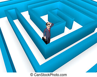 Lost Businessman Indicates Entrepreneurs Direction And Confuse 3d Rendering