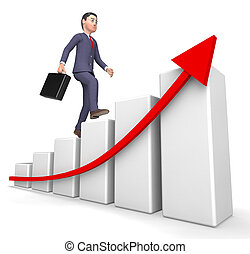 Character Profits Shows Success Successful And Business 3d Rendering