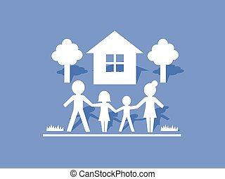 Family Icon with House and Trees - Vector Illustration of...